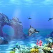 Рыба в аквариуме, лежащим на дне океана